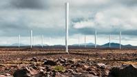 """Větrná farma osazená elektrárnami Vortex Bladeless v představě ilustrátora. Všimněte si poměrně malých rozestupů: bezrotorové stožáry by mělo být možné osazovat zhruba dvakrát hustěji než """"větrníky""""."""